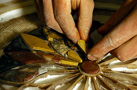 Inlay marble work, Naples, Campania, Italy