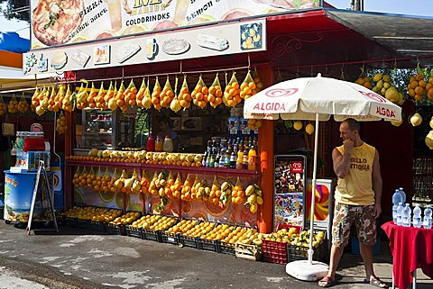 citrus stalls, Pompei, Naples, Campania, Italy, Europe
