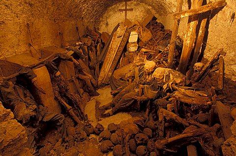 Crypt with mummies, San Bartolomeo church, Campagna, Campania, Italy.