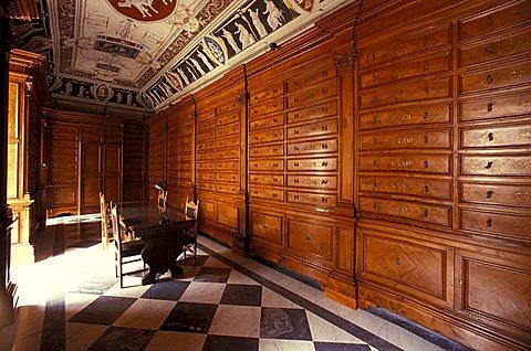 Library, Santissima Trinità benedictine abbey, Cava de' Tirreni, Campania, Italy