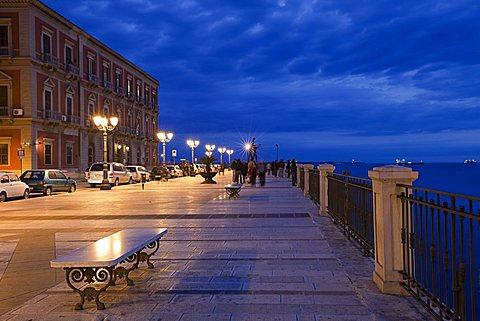 Taranto, Apulia, Italy. The city promenade