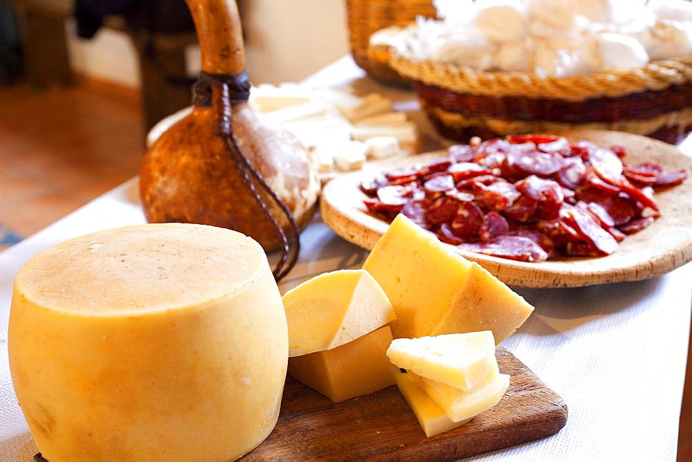 Traditional sardinian salami and sheep's cheese, Sardinia, Italy, Europe