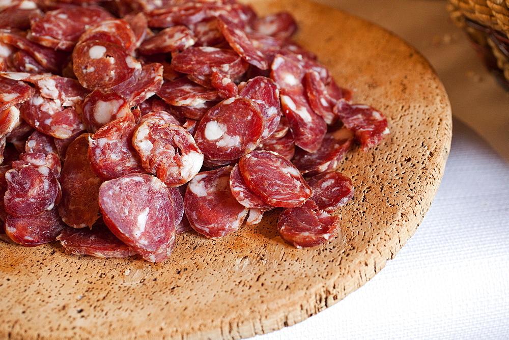 Traditional sardinian salami, Sadinia, Italy, Europe
