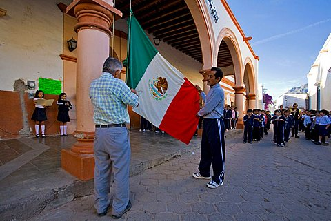 Flag-raising ceremony, Alamos, Sonora, Mexico, Central America