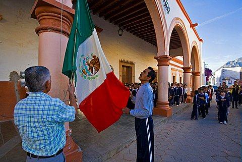 Flag-raising ceremony, Alamos, Sonora, Mexico, Central America