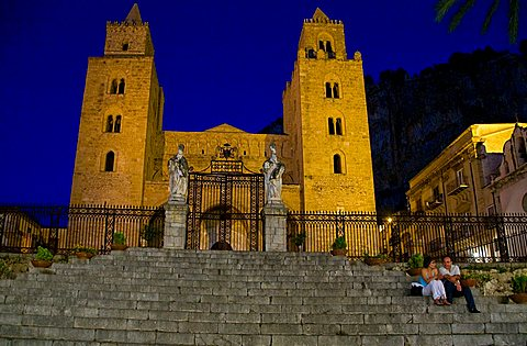 The Cathedral or Basilica of Cefalù at the dusk, Sicily, Italy