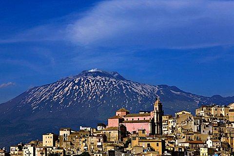 Cityscape Centuripe and Etna volcano, Sicily, Italy