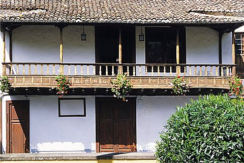 Typical balcony of an ancient house, Icod de los Vinos,Tenerife, Canary Islands, Spain