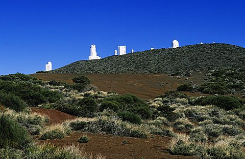The astronomical observatories of Izana on the mountains east of Teide, Teide National Park,Tenerife, Canary Islands, Spain