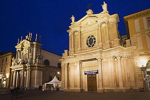 San Carlo square at sunset, Turin, Piedmont, Italy