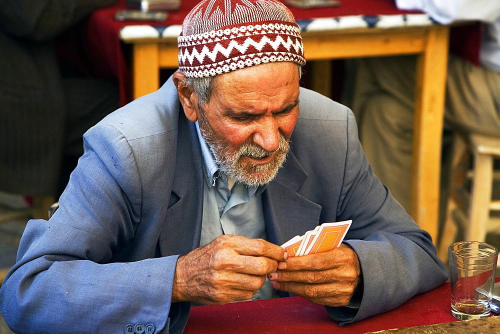 Bazaar, in the open court of a tea house, Urfa, Turkey, Europe