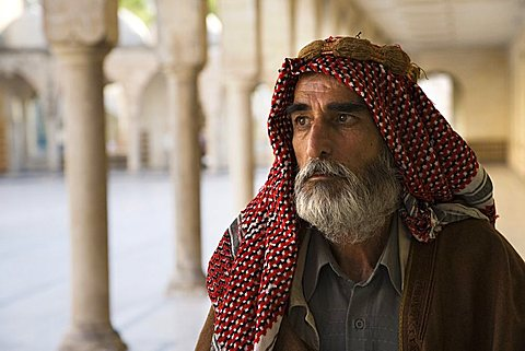Turkish man on a pilgrimage to the Abrham's cave, Urfa, Turkey, Europe