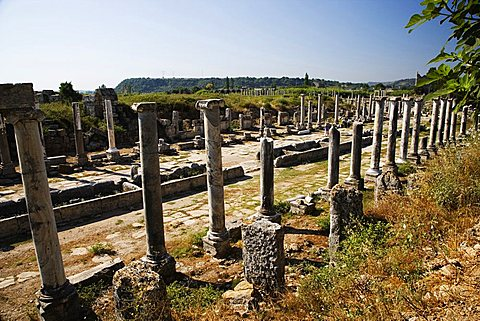 The colonnaded street, Perge, Turkey, Europe