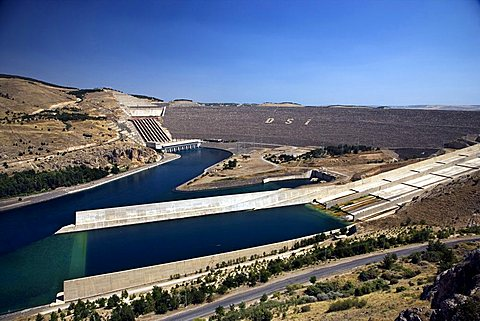 The Ataturk Dam on the Euphrates river near Adiyaman, Turkey, Europe