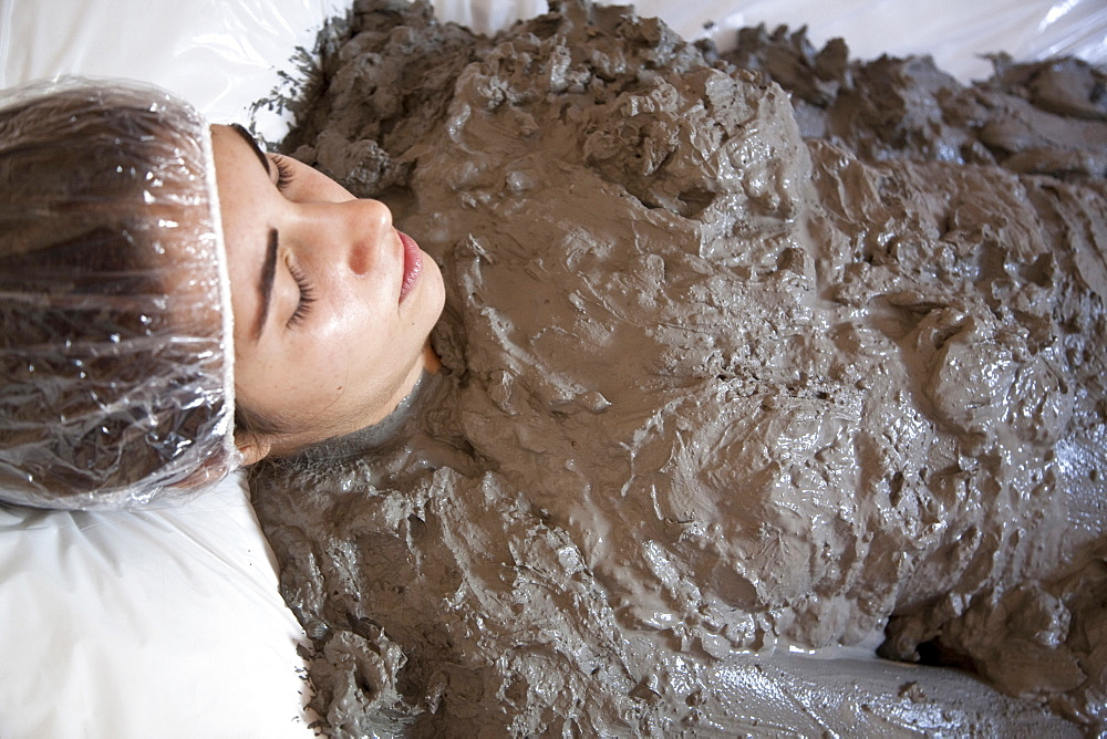 Mud Treatment, Terme San Filippo, Bagni San Filippo, Castiglione d'Orcia, Siena, Tuscana, Italia