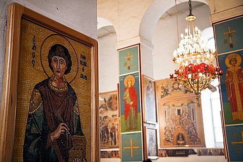 Middle East, Madaba, Greek Orthodox St George's Church. Madaba's most famous site about Mosaics