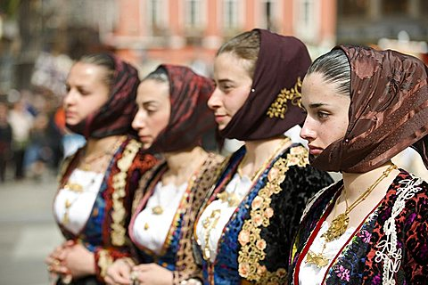 Women in traditional dress, Cagliari, Sant'Efisio traditional event, the most important religious feast in Sardinia, Italy