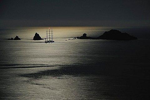 Moonlight, Lotzorai bay, Ogliastra, Sardinia, Italy, Europe