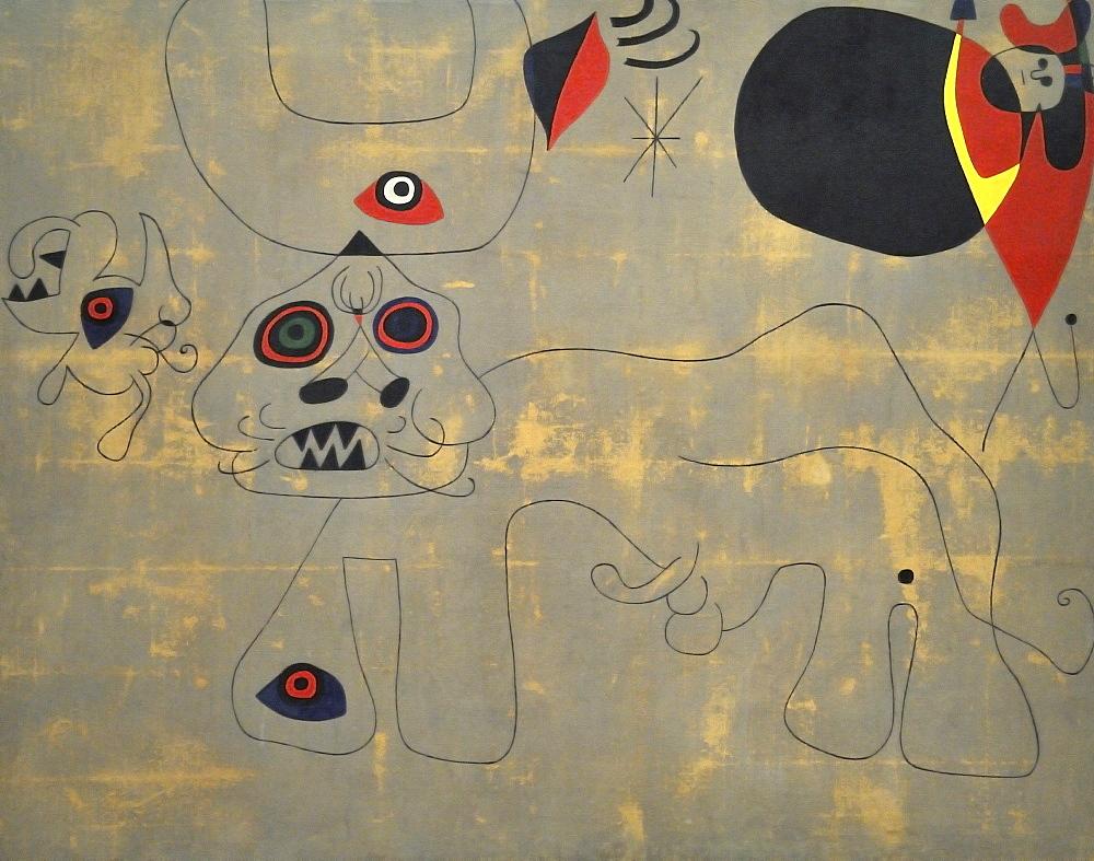 La course de taureaux, Joan Mirv=, Musee National d'Art Moderne, Centre Georges Pompidou, Beaubourg, Paris, Ile-de-France, France, Europe