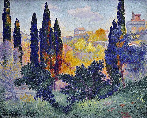 Cypresses at Cagnes, Henri-Edmond Cross, Musee d'Orsay, Paris, Ile-de-France, France, Europe