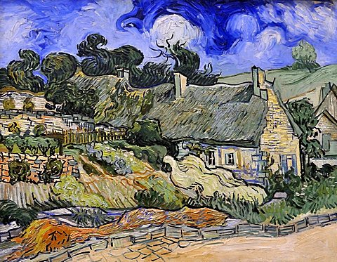 Thatched Cottages at Cordeville, Vincent Van Gogh, Musee d'Orsay, Paris, Ile-de-France, France, Europe