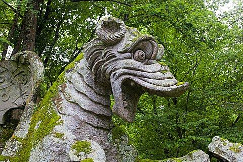 Winged dragon, Parco dei Mostri monumental complex, Bomarzo, Lazio, Italy