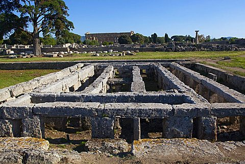 The north area of the Forum, Paestum archaeological area, Campania, Italy