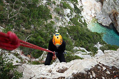 Climbing, Golfo di Orosei, Supramonte, Baunei (OG), Sardinia, Italy, Europe