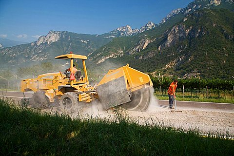 Road costruction site,  Sdruzzina` di Ala, Trentino Alto Adige, Italy, Europe
