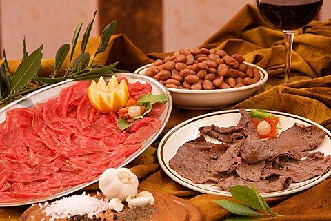 Carne salada e fasoi typical lunch, Alto Garda Trentino  Ristorante Castello restaurant , Trentino Alto Adige, Italy, Europe