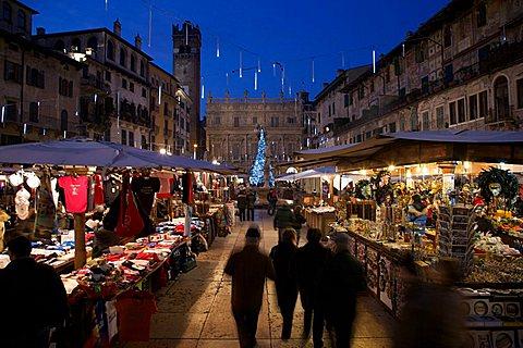 Christmas Market, Erbe square, Verona, Veneto, Italy
