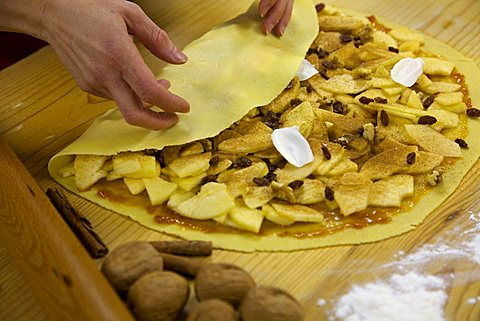 Preparation of strudel, Trentino Alto Adige, Italy
