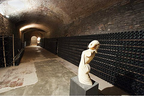 Bosca underground wine cathedral in Canelli, sculpture of the artist P. Spinoglio, Asti, Piedmont, Italy, Europe