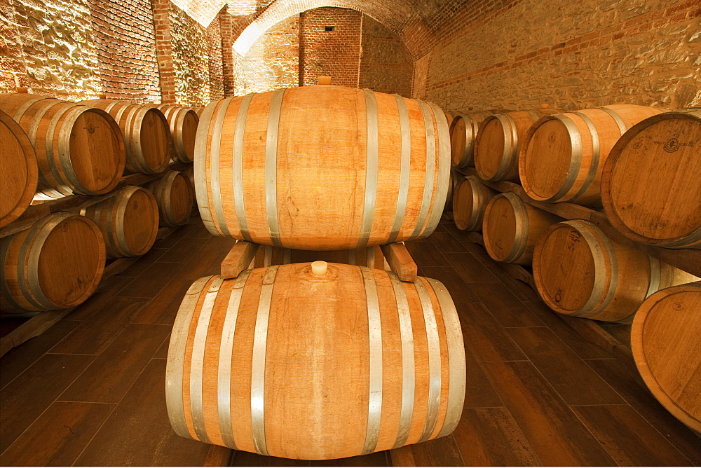 """Gancia underground wine cathedral in Canelli, the barrels made by oak wood and named """"barriques"""" where the wine is maturing, Asti, Piedmont, Italy, Europe"""