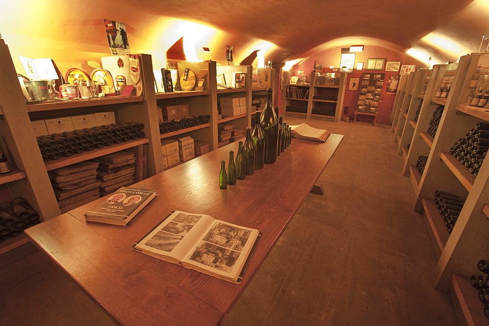 Gancia underground wine cathedral in Canelli, a museum like room, Asti, Piedmont, Italy, Europe