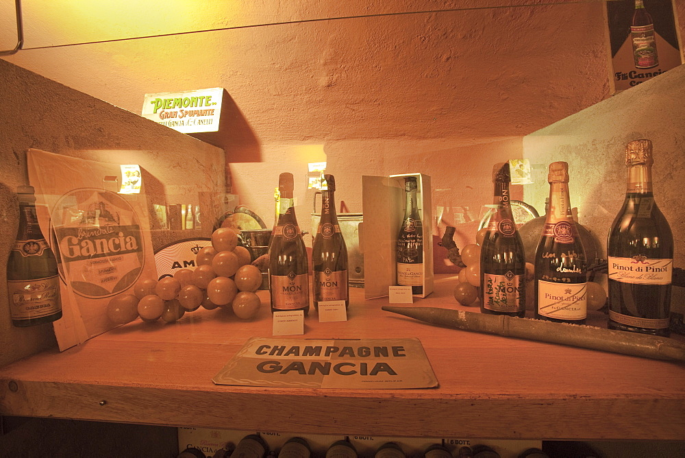 Gancia underground wine cathedral in Canelli, a collection of Gancia bottles signed by famous people, Asti, Piedmont, Italy, Europe