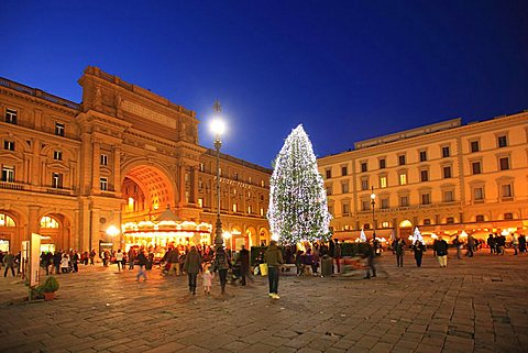 Christmas in Florence, Repubblica square, Florence,Tuscany, Italy, Europe