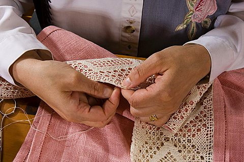 Lace and lace pillow, Handicraft, Cogne, Valle d'Aosta, Italy, Europe
