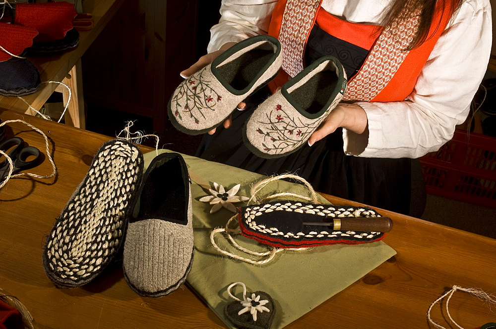 Slippers (Socka), Handicraft, Aosta, Gressoney-St-Jean, Valle d'Aosta, Italy, Europe