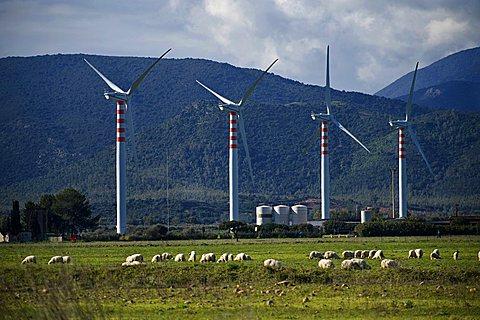 Wind energy, Capoterra, Provincia di Cagliari, Sardinia, Italy
