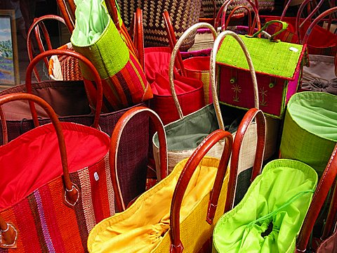 Typical bags, Provenvæal market, Apt, Provence-Alpes-C¬?te d'Azur, France, Europe