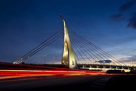 Cable-stayed bridge, Monserrato (CA), Sardinia, Italy, Europe