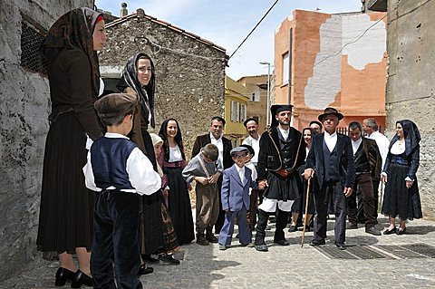 Recall of the ancient wedding in traditional dress, Baunei, Sardinia, Italy, Europe