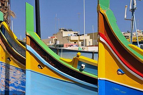 Typical fisherman boat, Marsaxlokk. Malta. Europe.