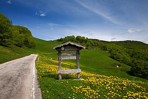 Stretch of mountain road in Plateau of Brentonico, Trentino Alto Adige, Italy, Europe