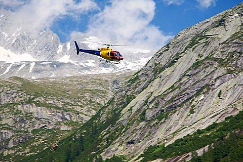 Helicopter work in Adamello-Brenta Natural Park, Fumo Valley, Val di Daone, Valli Giudicarie, Trentino Alto Adige, Italy, Europe