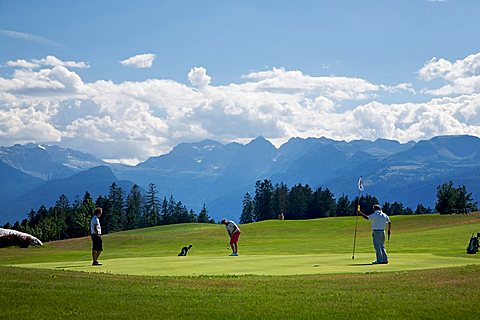 Golf course, Dolomiti Golf Club, in the background Dolomiti di Brenta, Cavareno, Sarnonico plateau, Non valley, Trentino Alto Adige, Italy, Europe