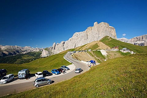 Dolomitic mountain at Sella pass with view of Sass Pordoi mountain, Fassa and Gardena valley, Trentino Alto Adige, Italy, Europe