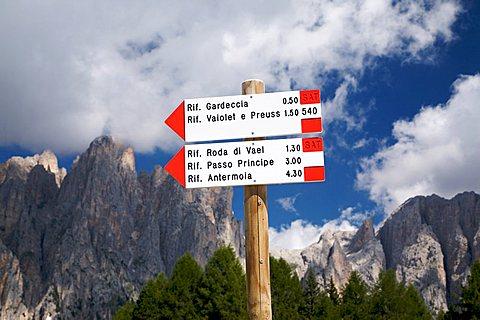 Table path, Catinaccio mountain and Torri del Vajolet, Fassa valley, Trentino Alto Adige, Italy, Europe