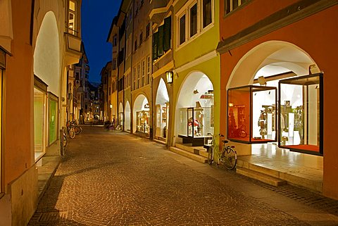 Foreshortening, Portici street at the twilight, Bolzano, Sudtirol, Alto Adige, Italy Europe